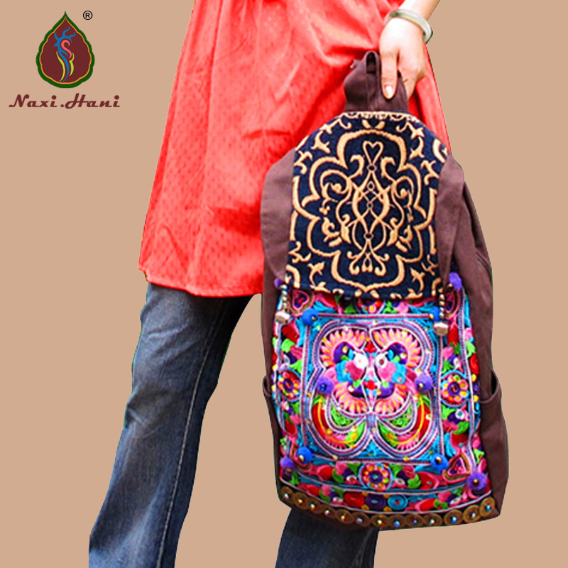 Hot Naxi.Hani Brand Fashion vintage brown canvas women travel backpack Ethnic embroidery  handmade sequins women backpackHot Naxi.Hani Brand Fashion vintage brown canvas women travel backpack Ethnic embroidery  handmade sequins women backpack