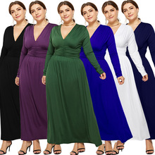 купить Spring new hot fashion personality large size loose solid color sexy V-neck fat MM long-sleeved high waist female dress по цене 1332.58 рублей