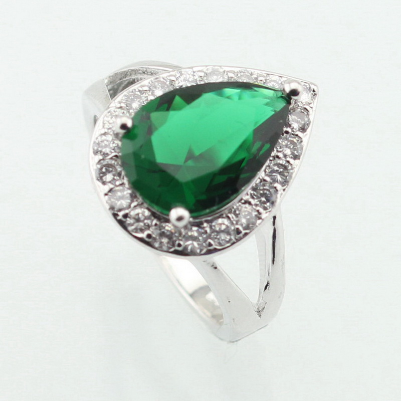 WPAITKYS Drop Water Trendy Green Cubic Zirconia Silver Color Ring For Women Party Crystal Jewelry Size 6 7 8 9 10 Free Gift Box