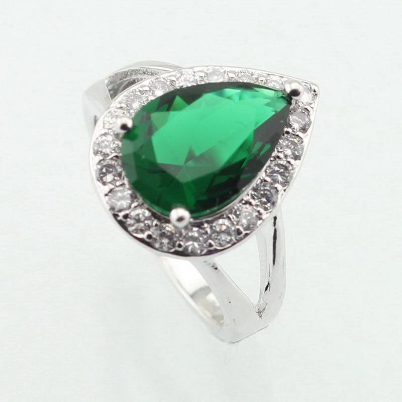 WPAITKYS капка вода моден зелен кубичен цирконий сребърен цвят пръстен за жени партия кристал бижута размер 6 7 8 9 10 безплатен подарък кутия