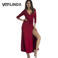 VESTLINDA Belted Plunging Surplice High Slit Maxi Dress Womens Sexy Party Evening Formal Long Gown Maxi
