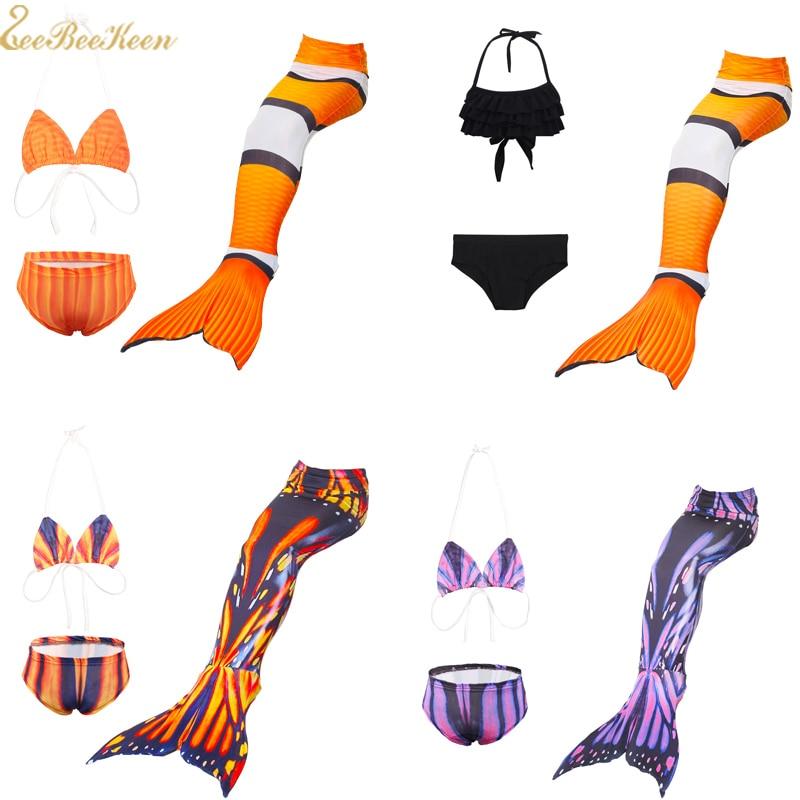 Clownfish Cosplay Costume for kids Mermaid Tail 3pcs Mermaid Swimsuit Children Swimming Mermaid Costume For Girls Swim Flippers