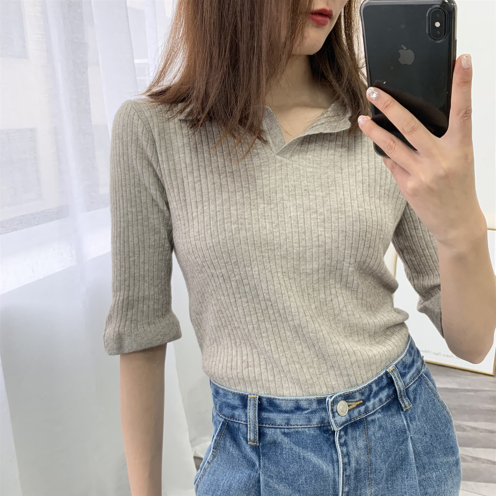 2019 New Fashion Women T Shirt Solid Half sleeve Slim Knitted Top Women spring summer Casual Female T-shirt High Quality