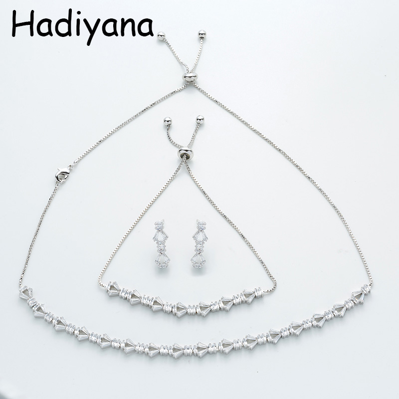 Hadiyana New Arrival Shiny Cubic Zircon Jewelry Sets Women Fashion Three-piece Bridal Engagement Accessories Gift Set TZ8052