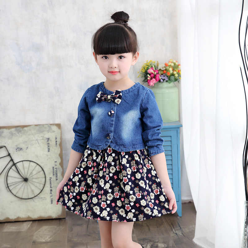 בנות בגדי חליפת סתיו חדש ילדי בגדי סטי אופנה ג 'ינס מעיל + פרחוני שמלת שתי חתיכה תלבושות לילדים 6 8 12 שנה