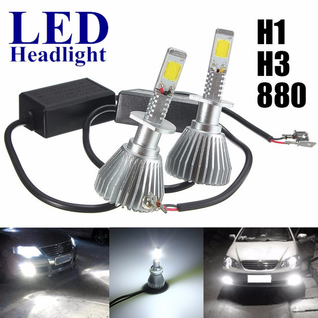 1 pair 44W H1 H3 880 4000LM Car COB LED Headlights Upgrade Conversion Headlamp Kit Bulb Lamp White 6000K DC12-24V Car Styling