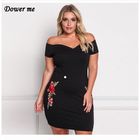 Oversize Female Sexy V Neck Out Off Shoulder Gowns Simple Slim Elegant Embroidery Black Party Dresses