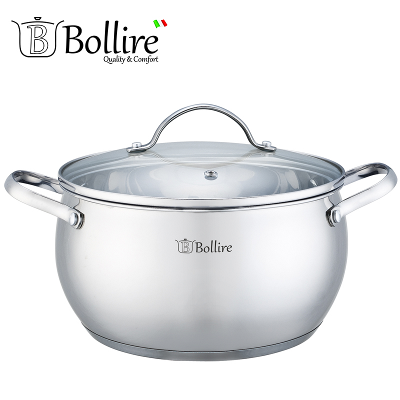 BR-2203 Casserole Bollire 3.2L Stainless steel Cover of heat-resistant glass with a hole for the release of steam
