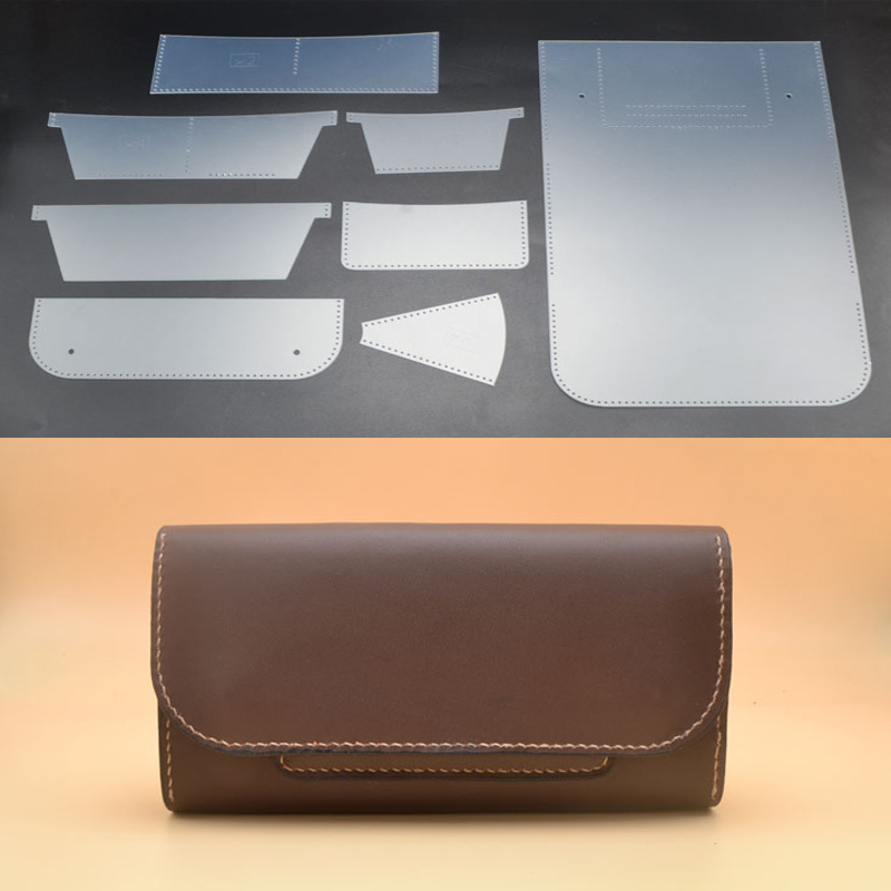 1 Set PVC Stencil Template Leather Craft Women Long Wallet Sewing Pattern FOR Handmade Leathercraft 19.2x9.2cm