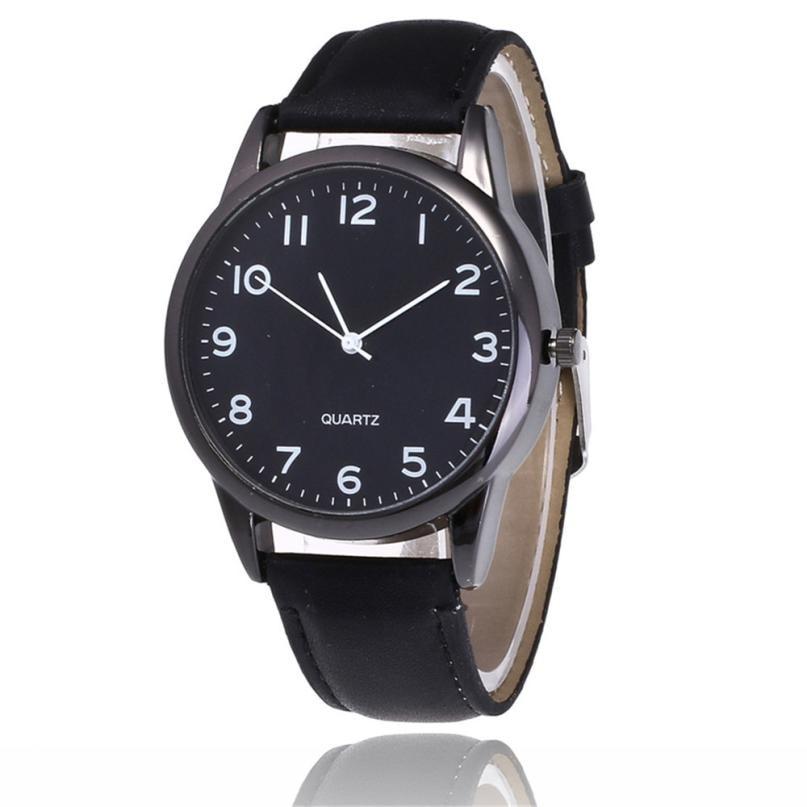 2018 New Simple Couple Fashion Leather Band Analog Quartz Round Wrist Business Men's Watch Erkek Kol Saati Wrist Watch Bracelet