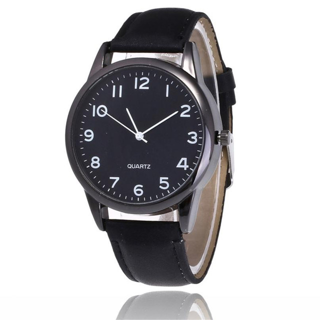 2018 New Simple Couple Fashion Leather Band Analog Quartz Round Wrist Business m