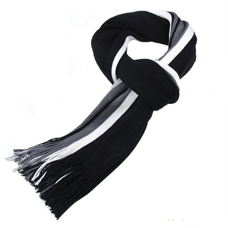 Hot Sale Men Winter Classical Striped Artificial Wool Scarf Tassels Scarf Long Pashmina Shawl Drop Shipping
