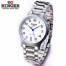 Brand New Binger White Gold Skeleton self-wind automatic watch Man Genuine Quality Steel Watches Elegant Blue Seconds Wristwatch
