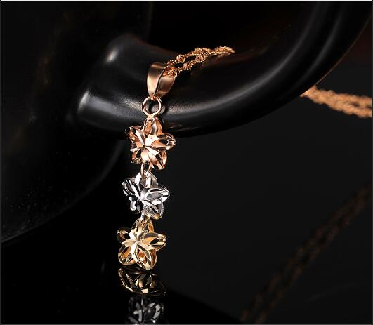Boraizy Sparkling 18k Real Gold Pendant Genuine Fine Jewelry AU750 Women Female Girl Lady Three Star Charm Necklace Gift Trendy