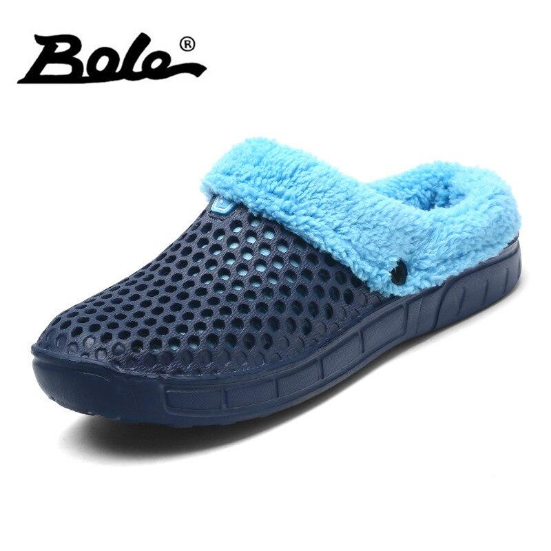 BOLE Size 37-45 Winter Slippers Men Plush Warm Slipper Shoes Light Weight Comfortable Walk on The Home Unisex Couple Slippers цены онлайн