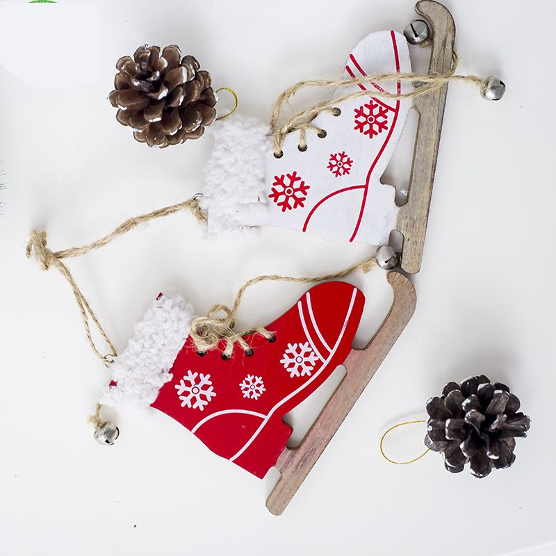 Diamond Magideal 2pcs Set Christmas Snowflake Wooden Sleds Boots Christmas Tree Hanging Decor