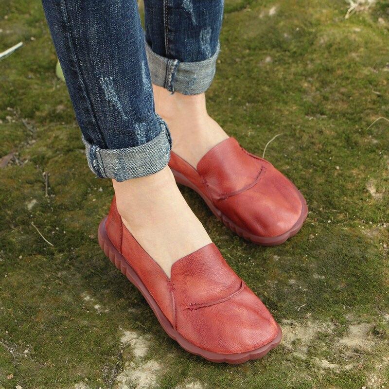 ربيع جديد أحذية نسائية جلدية الفن الرجعية عارضة مريحة مسطحة القاع اليدوية أحذية النساء-في أحذية نسائية مسطحة من أحذية على  مجموعة 1