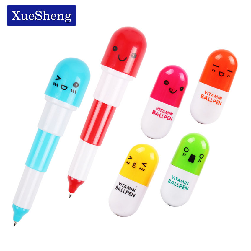 6PCS Cute Smiling Face Pill Ball Point Pen Pencils Telescopic Vitamin Capsule Ballpen for School Office Supplies