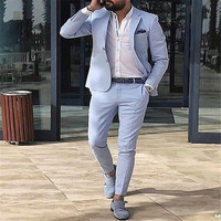 2019 light blue men suits slim fit blazer summer casual street jackets for business wedding prom classic male tuxedos with pants