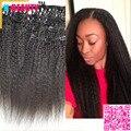 Clip In Human Hair Extensions Eurasian Virgin Hair Kinky Straight Clip-in Weaves 7PCS/Set 120g Coarse Italian Yaki Clip Ins 8A