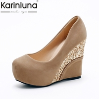 KARINLUNA brand shoes large size 33 43 top quality pumps women shoes sexy wedge high heels office lady bride wedding shoes woman
