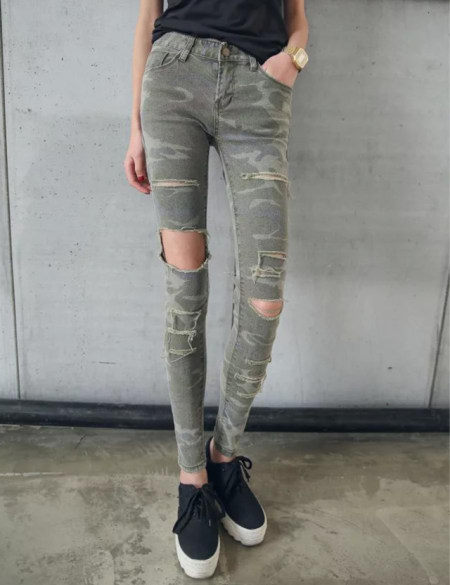 e6cb10c69c3 American apparel low rise Army Cargo Pants women jeans with hole stretch  camo camouflage jeans skinny denim jean femme