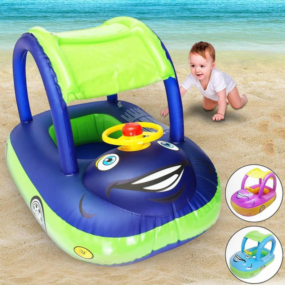 Baby Swim Ring Sunshade Steering wheel Safe Holiday Floating Summer Kids Seat Inflatable Swimming boat toys Water pool tube PVC