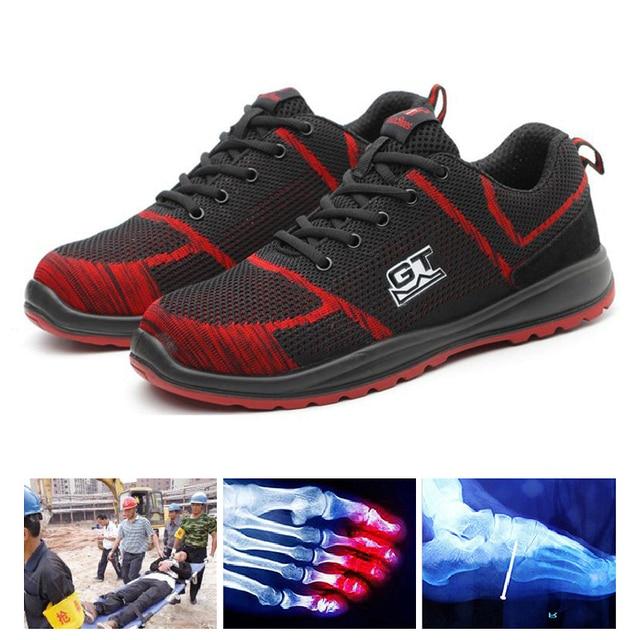 Męskie buty robocze BHP ze stali Toe na świeżym powietrzu odporne na zużycie przemysłowe budowy odporne na przebicie buty T118 czerwony