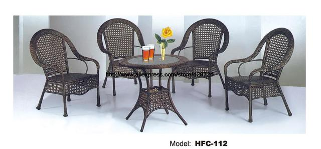Promotion Clic High Back Armrest Chair Round Rattan Table 5 Pcs Combination Garden Beach Balcony Furniture