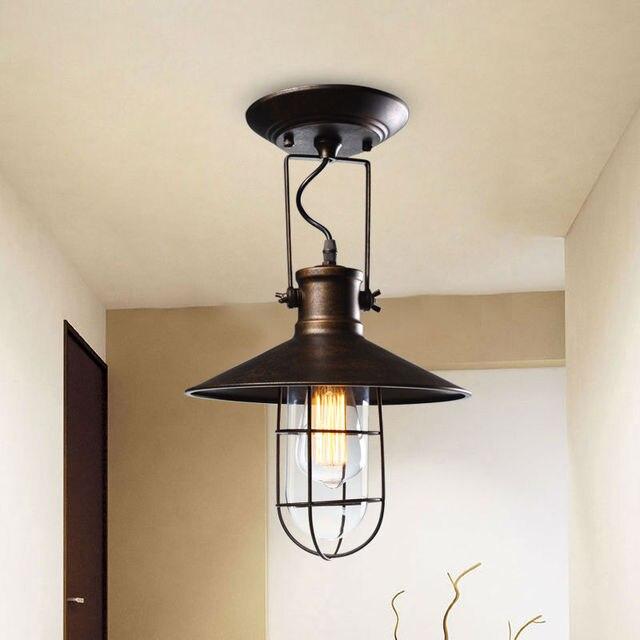 Dorf Deckenleuchten Amerikanischen Land Stil Flur Balkon Loft Lampe Eisen  Spray Malerei Prozess Glas Lampenschirm
