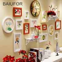 BAIUFOR Europe 14pcs/set Wood Frame Photo Frames Set with Clock Cadre Photo Picture Frames Wall Paintings for Living Room Decor