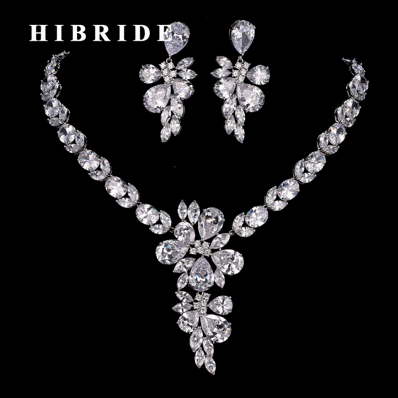 HIBRIDE Clear Rhinestone Flower Pendant Necklace and Earring Sets Dubai Popular Jewelry Sets Female Fashion Jewelry N-181 defender defender aura 114 черный серый