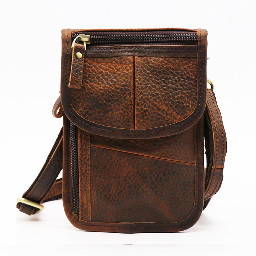 купить Brand Retro Casual 7' Cell/Mobile Phone Punch Case Bags Men's Genuine Leather Mini Belt Waist Pack Male Shoulder Messenger Bag