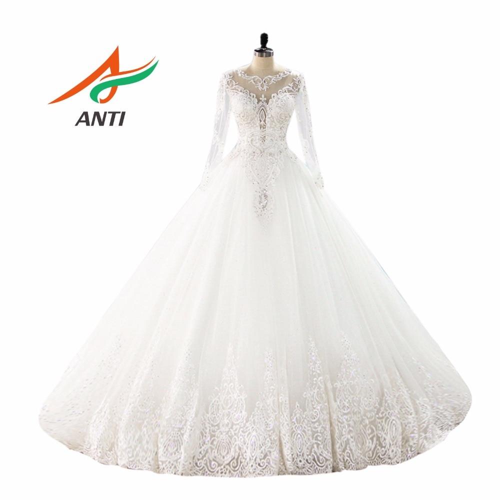 ANTI De Luxe robe de Bal Robe De Mariage Avec Manches Longues Appliques robe de noiva Broderie Robes De Mariée Robe Femme Enceinte