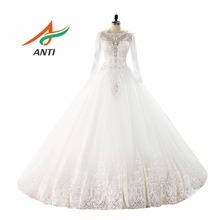 ANTI Luxury Ball Gown Wedding Dress With Long Sleeves Appliques vestido de noiva Embroidery  Bridal Gowns Robe Femme Enceinte