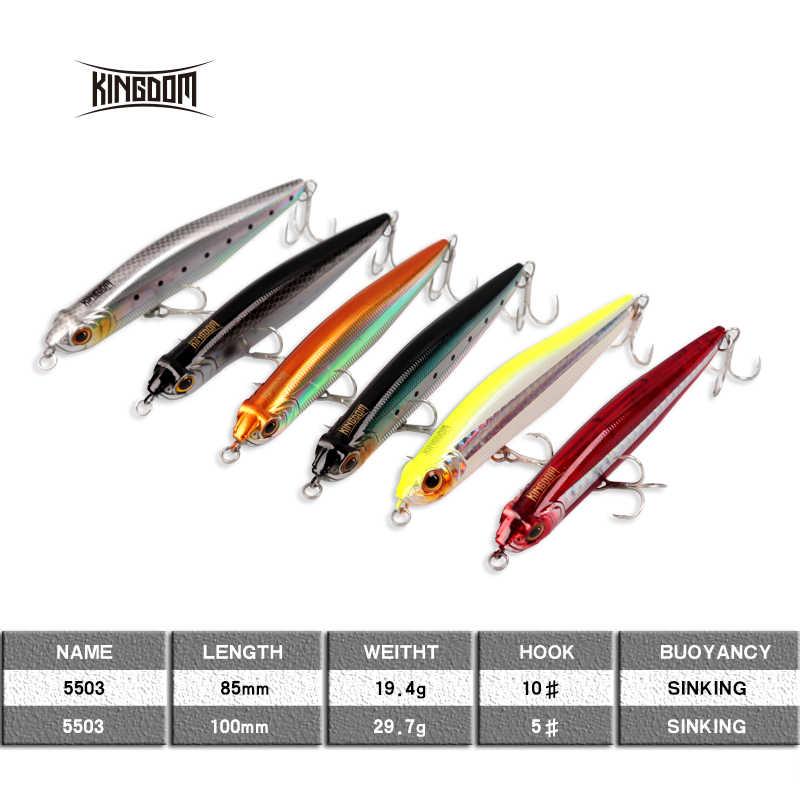 Królestwo długie rzucanie przynęta tonący ołówek 100mm 29.7g, 85mm 19.4g New Arrival Sea Bass sztuczna przynęta Model 5503