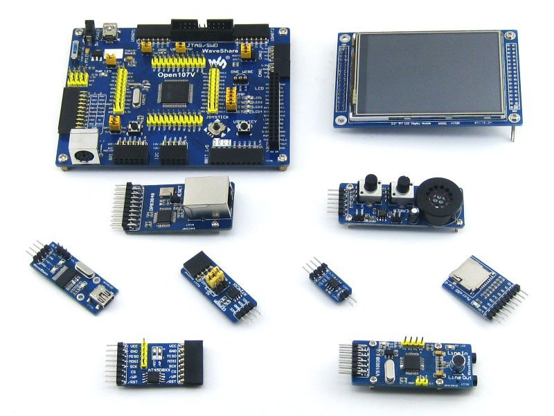 STM32 Board STM32F107VCT6 STM32F107 ARM Cortex-M3 STM32 Development Board + 8pcs Accessory Modules=Open107V Package B stm32 board stm32f107vct6 tm32f107 arm cortex m3 stm32 development board 6 accessory module kit open107v package a