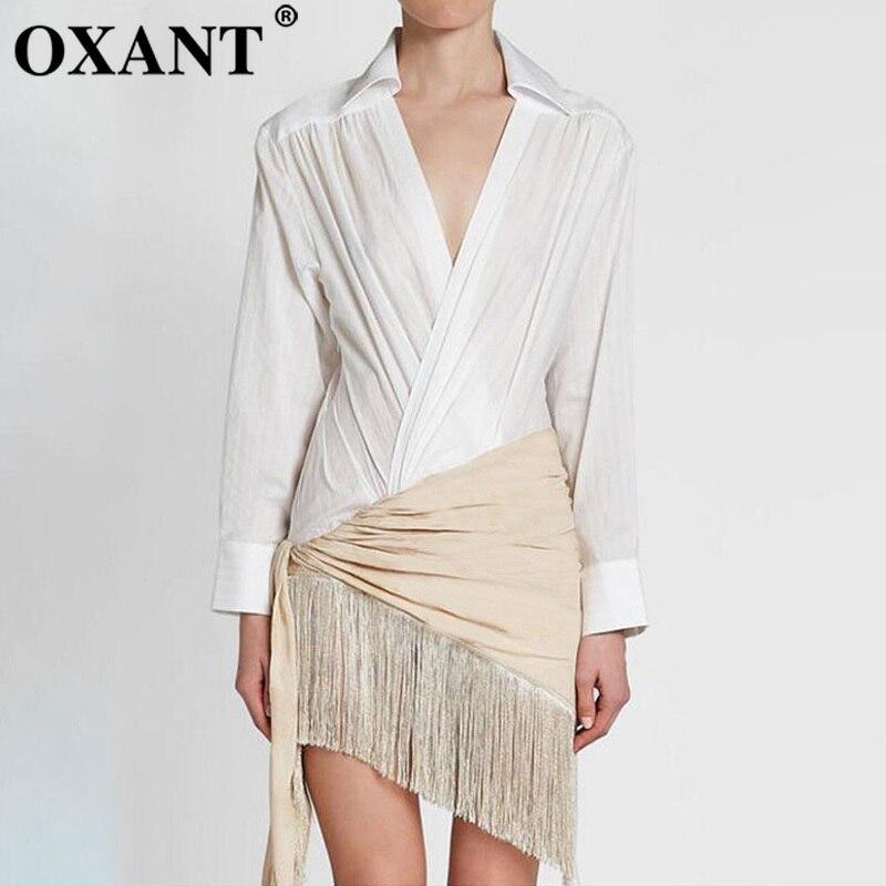 OXANT Tassel Patchwork Dress Female V Neck Long Sleeve Irregular Sexy Midi Shirt Dresses 2019 Autumn Fashion Casual New