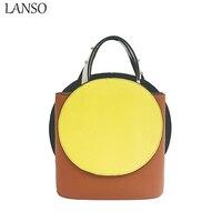 LANSO Luxury Brand Designer Bucket Bag Women Leather Rivet Handle Shoulder Bags Handbag Ladies Crossbody Bag