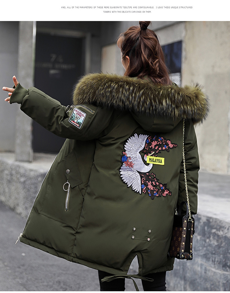 Green army Tissu Nouveau white Patch 2018 Femmes Coton Épais Black Britannique Long Colour Et Fourrure T62 caramel Simple Col Broderie De Vêtements Lâche Casual RxwdqwHZS