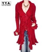 New Fall 2019 Womens Sweaters European Ruffled Sweater Cardigan Women Coat Sweet Slim V Neck Long Female Cardigan Red Pull Femme