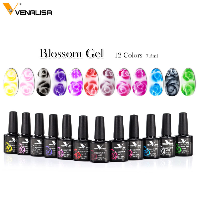 Venalisa 12 Color Nail Art Beauty Manicure DIY Nail Design Flower Blooming Effect Nail Paint Gel Blossom Nail Gel Polish Varnish