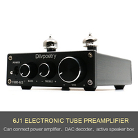 Dilvpoetry 6J1 Nobsound preamplifier HiFi 6J1 Vacuum Tube Amplifier Stereo Pre Amplifier Treble & Bass Contro