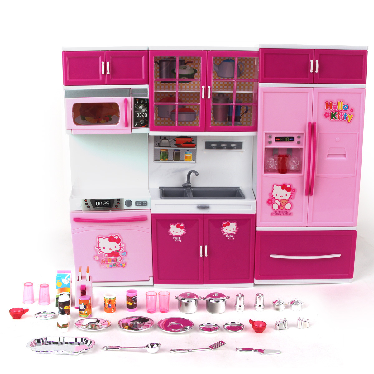 Pink kid kitchen fun toy pretend play cook cooking cabinet stove set sound and light baby puzzle plastic toys childrens play toy kitchen hello kitty girl teraionfo
