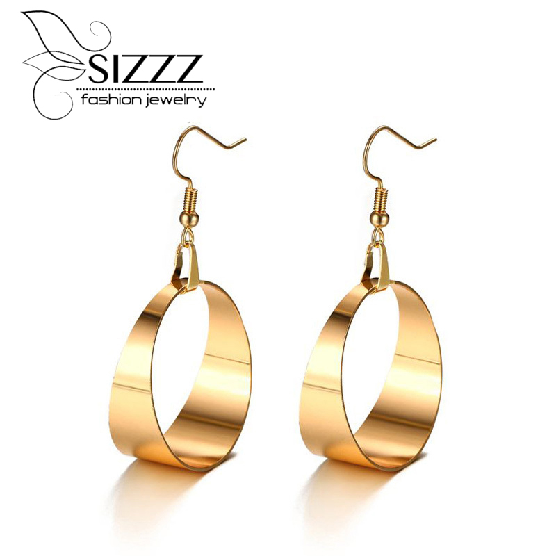SIZZZ Europe and the United States style big earrings gold temperament drop earrings for women