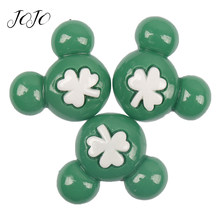 JOJO BOWS 10pcs DIY Craft Supplies Clover Green Mickey Planar Resin Accessories For Phone Case Sticker Children Hair Decoration(China)