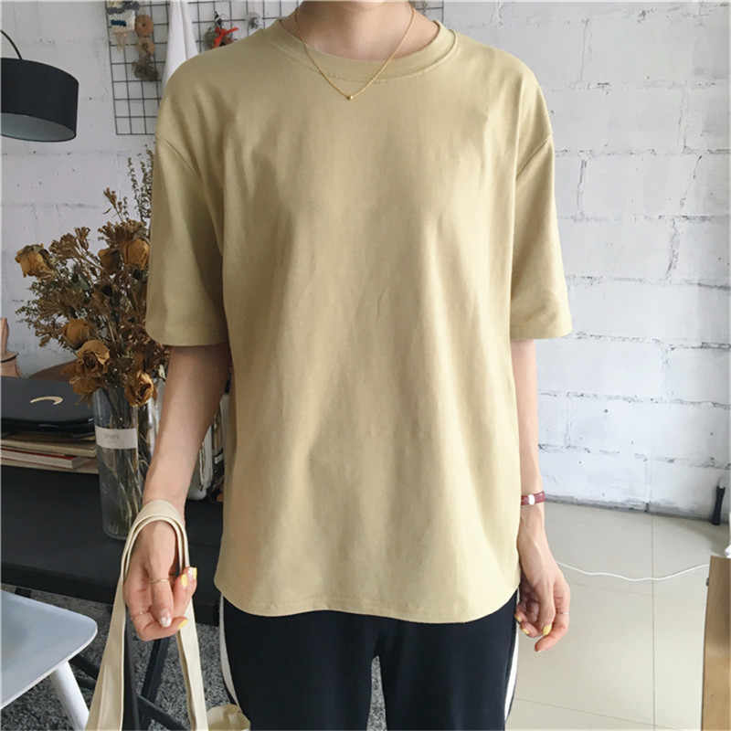 Korean Style Women T-Shirt Female Summer Loose T Shirt Tee Top Casual Solid Short Sleeve O-Neck Cotton tshirt Camisetas Mujer