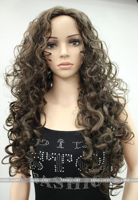 ¡ Venta caliente!!! Cosplay Excelente Medio Castaño Largo Rizado Mujeres Damas Diario peluca Mullida FTLC010