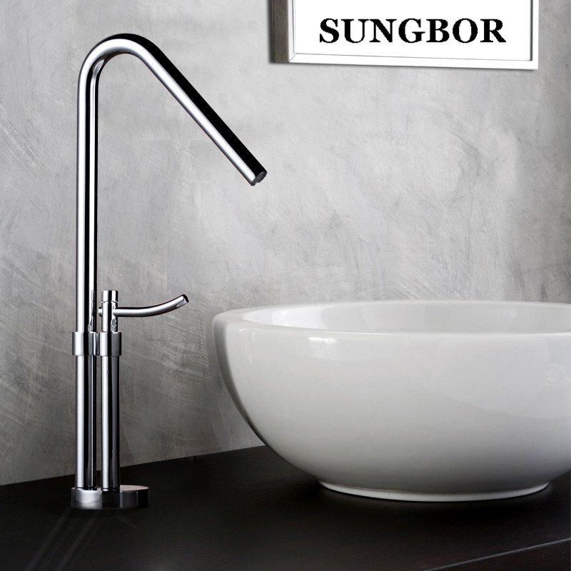 Tall Square Brass Chrome Bathroom Faucet Lavatory Sink Bar Basin faucet Mixer Tap Extra Long Spout Cold Hot Water tap LT-801A цена 2017