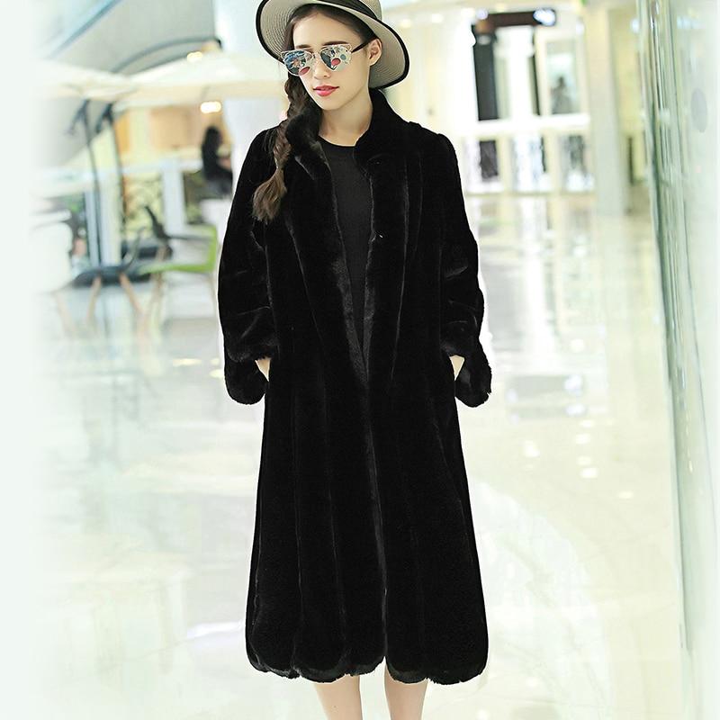 Nerazzurri 2017 new european fashion faux fur coat negro rayado vertical del collar del soporte largo abrigos de piel de conejo artificial de las mujeres